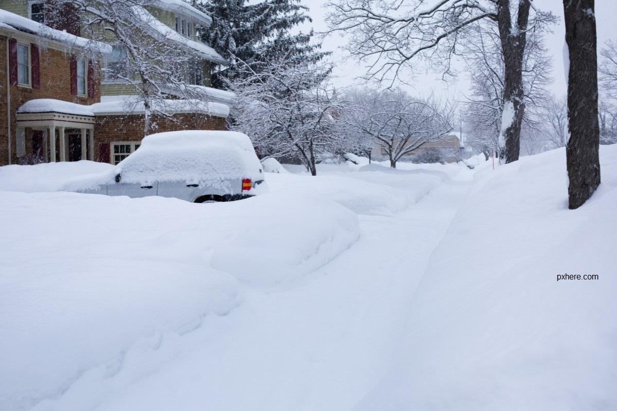 Snow Covered Neighborhood